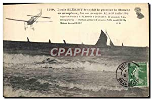 Carte Postale Ancienne Avion Aviation Louis Bleriot franchit le premier la Manche en aeroplane