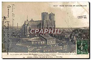 Carte Postale Ancienne Avion Aviation Farman se rend au camp de Chalons Arrivee a Reims vue prise...