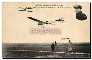 Carte Postale Ancienne Avion Aviation Grande semaine d'aviation Hubert Latham sur monoplan Antoin...