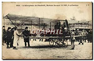 Carte Postale Ancienne Avion Aviation Aeroplane de pischiff Moteur Anzani