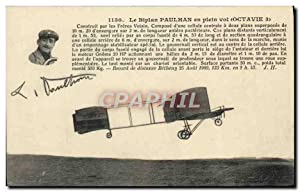 Carte Postale Ancienne Avion Aviation Le biplan Paulhan en plein vol