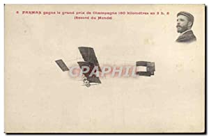 Carte Postale Ancienne Avion Aviation Farman gagne le prix de Champagne