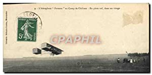 Carte Postale Ancienne Avion Aviation Aeroplane Farman au camp de Chalons En plein vol dans un vi...