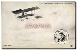 Carte Postale Ancienne Avion Aviation Legagneux sur biplan Sommer