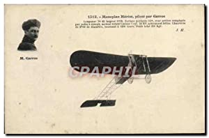 Carte Postale Ancienne Avion Aviation Monoplan Bleriot pilote par Garros