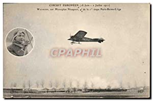 Carte Postale Ancienne Avion Aviation Circuit Europeen Weymann sur monoplan Nieuport Etape Paris ...