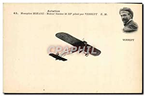 Carte Postale Ancienne Avion Aviation Monoplan Morane Moteur Gnome Verrept