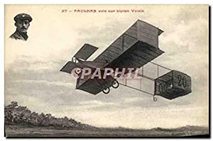 Carte Postale Ancienne Avion Aviation Paulhan sur biplan Voisin
