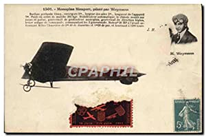 Carte Postale Ancienne Avion Aviation Monoplan Nieuport pilote par Weymann