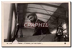 Carte Postale Ancienne Avion Aviation Farman sur son biplan