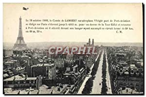 Carte Postale Ancienne Avion Aviation Comte de Lambert sur aeroplane Wright part de Port Aviation...