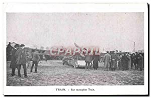 Carte Postale Ancienne Avion Aviation Train Sur monoplan Train