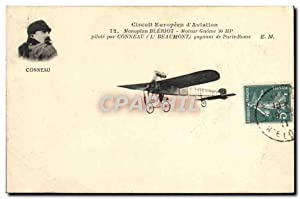Carte Postale Ancienne Avion Aviation Circuit europeen d'aviation Monoplan Bleriot Moteur gnome C...