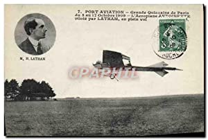 Carte Postale Ancienne Avion Aviation Port Aviation Grande quinzaine de Paris Aeroplane Antoinett...