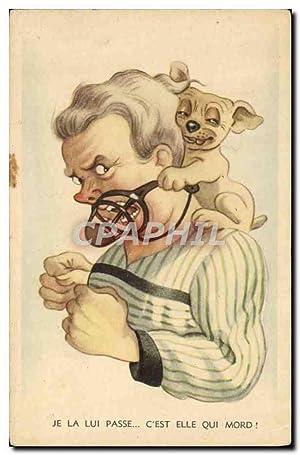 Carte Postale Ancienne Humour Chien Museliere
