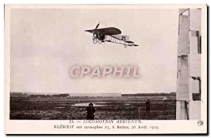 Carte Postale Ancienne Aviation Avion Bleriot sur monoplan 23 a Reims 26 aout 1909