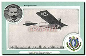 Carte Postale Ancienne Aviation Avion Monoplan Train Circuit europeen Juin Juillet 1911 Train en ...
