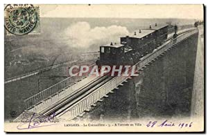 Carte Postale Ancienne Train Locomotive Langres La cremaillere A l'arrivee en ville