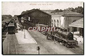 Carte Postale Ancienne Train Locomotive Beziers Gare du Midi