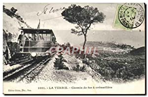 Carte Postale Ancienne Train Locomotive La Turbie Chemin de fer a cremaillere