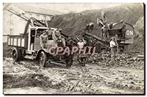 CARTE PHOTO Train Locomotive Camion travaux voie ferre