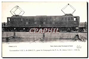 Carte Postale Ancienne Train Locomotive 1 CC 1 de 2100 CV de la Compagnie du PLM