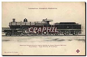 Carte Postale Ancienne Train Locomotive Machine Compound pour trains rapides de Great Western Rai...