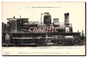Carte Postale Ancienne Train Locomotive Machine de trains express de la Cie PLM