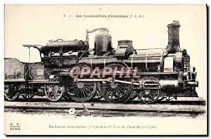 Carte Postale Ancienne Train Locomotive Machine de trains express