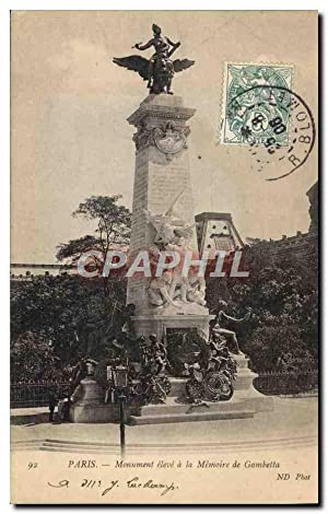 Carte Postale Ancienne Paris Monument eleve a la memoire de Gambetta