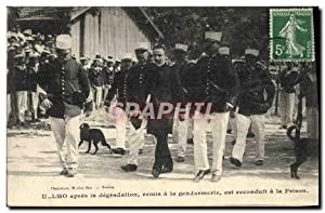 Carte Postale Ancienne Apres la degradation remis a la gendarmerie est reconduit a la prison ULLMO