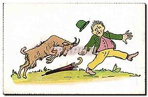 Carte Postale Ancienne Chevre Bouc Humour
