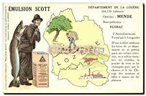 Carte Postale Ancienne Emulsion Scott Poisson département Lozere Mende Florac