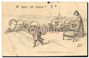 Carte Postale Ancienne Fantaisie Illustrateur A qui le tour