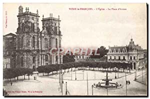 Carte Postale Ancienne Vitry Le Francois L'Eglise La Place D'Armes
