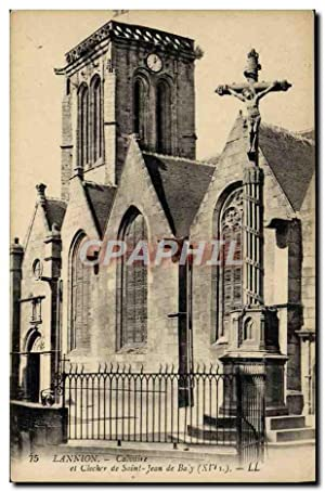 Carte Postale Ancienne Lannion Calvaire Et Clocher De Saint Jean De Baly