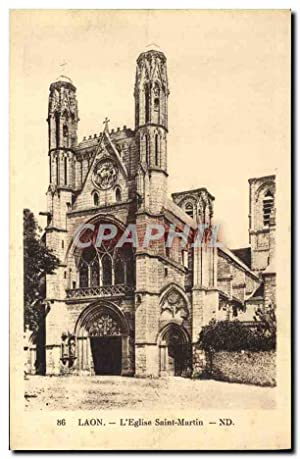 Carte Postale Ancienne Laon L'Eglise Saint Martin