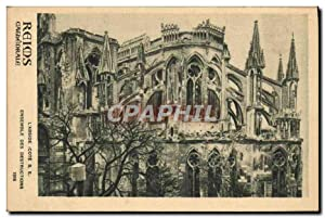 Carte Postale Ancienne Reims Cathédrale L'abside Ensemble des destructions Militaria