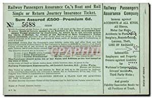 Carte Postale Ancienne Railway Passengers Assurance Company Train Assurance TOP