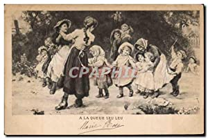 Carte Postale Ancienne Enfants A la queue leu leu