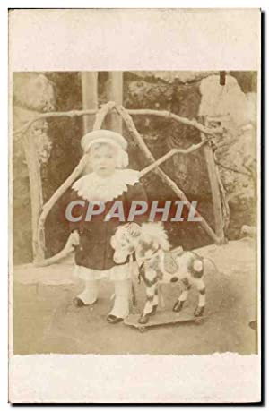 CARTE PHOTO Enfant Cheval
