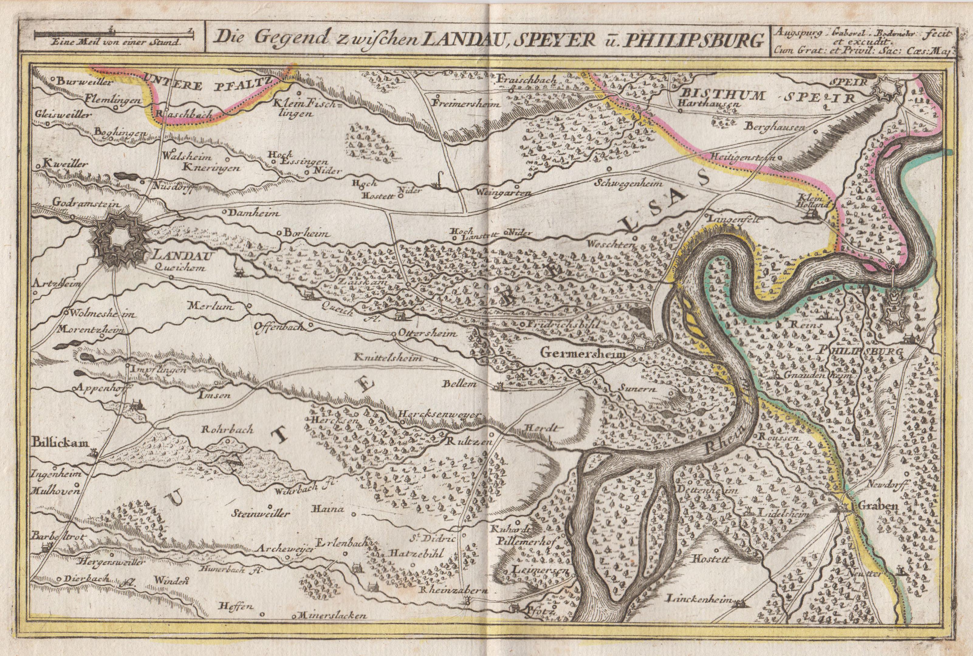 Kupferstich Karte V Und B G Bodenehr Die Gegend Zwischen