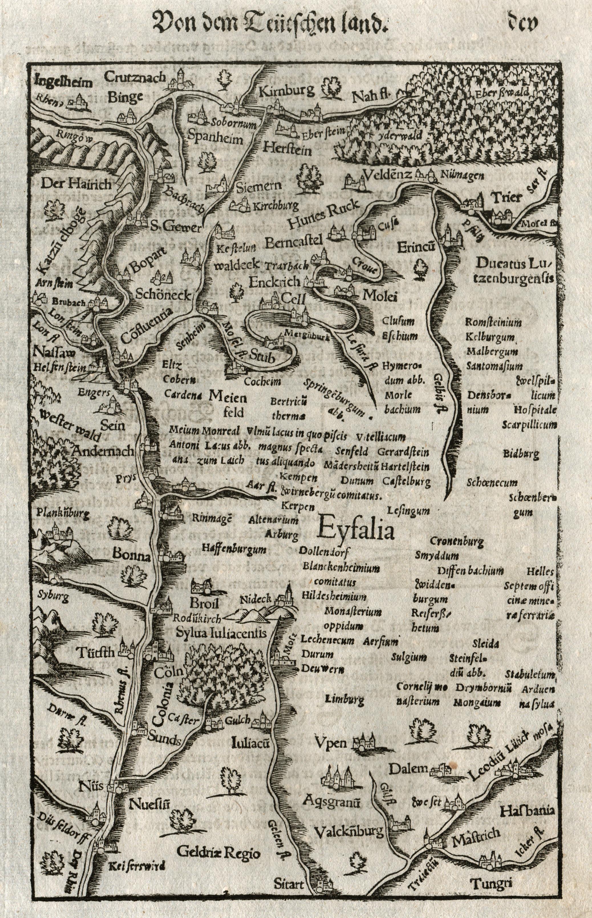 Karte Eifel.Holzschnitt Karte Aus Seb Münster Deut