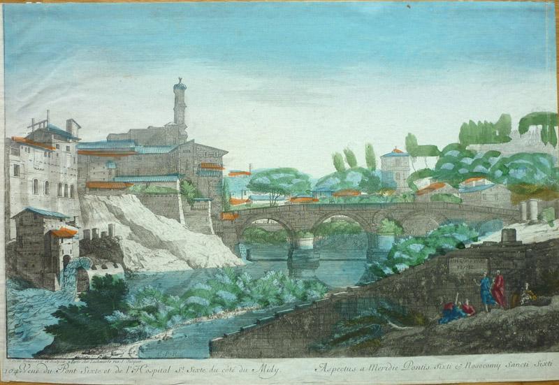 Vue du Pont Sixte et de l'Hospital St. Sixte du cote du Midy. [Rom/Roma]: Rom