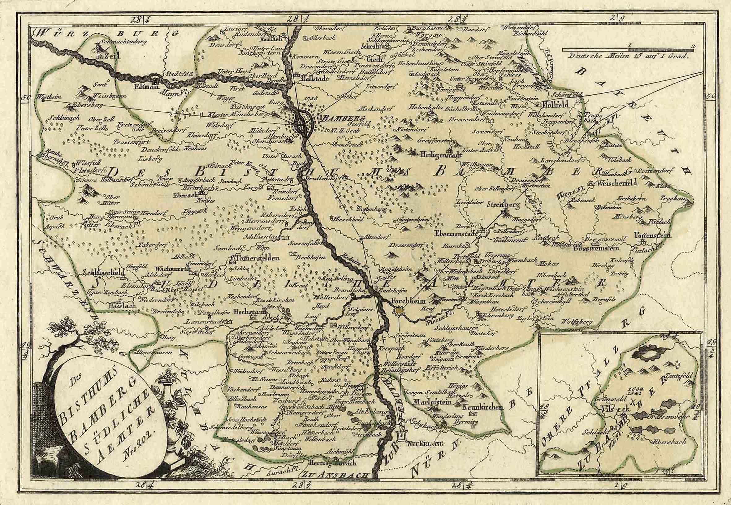 Kupferstich Karte V Reilly Des Bisthums Bamberg Sudliche