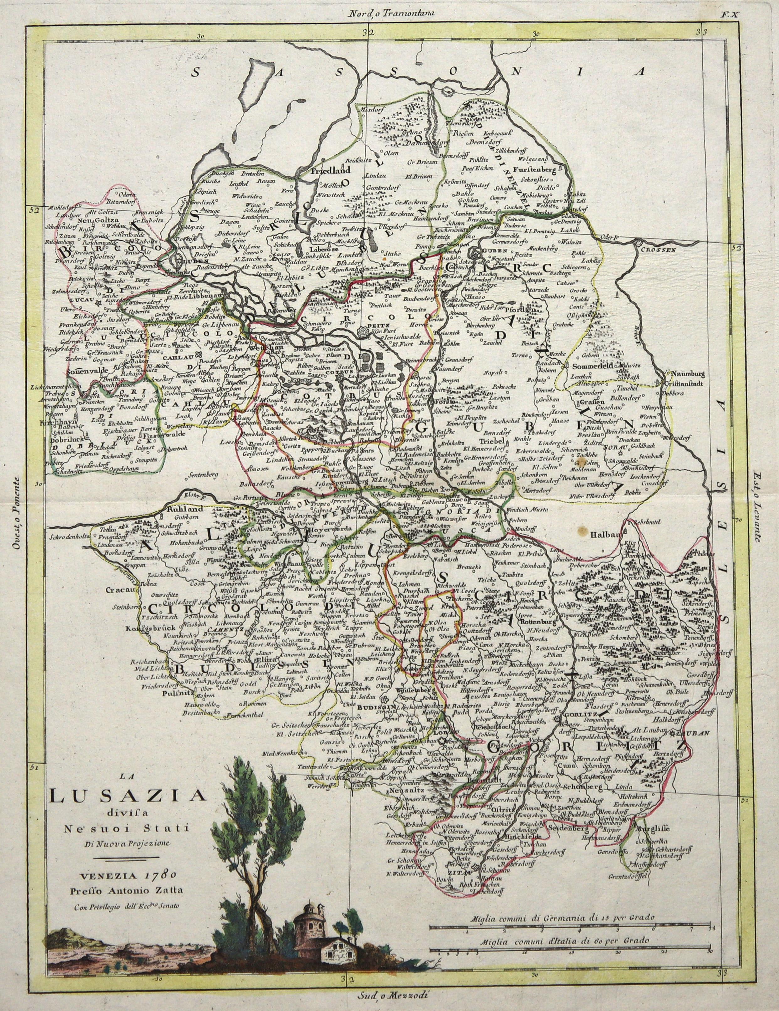 Lausitz Karte.Kupferstich Karte B Zatta