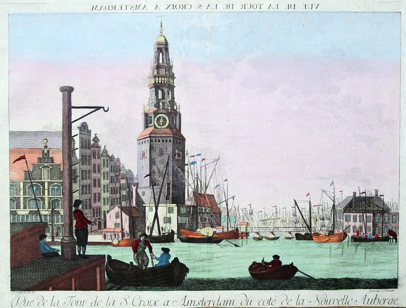 Vue de la Tour de la S. Croix a Amsterdam du coté de la Nouvelle Auberge.: Amsterdam