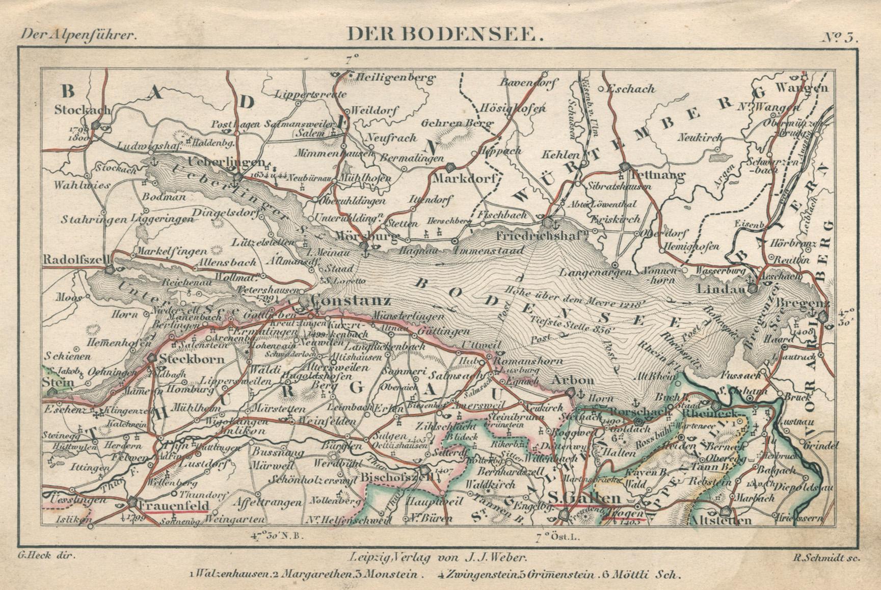Bodensee Karte.Karte Von Bodensee Zvab