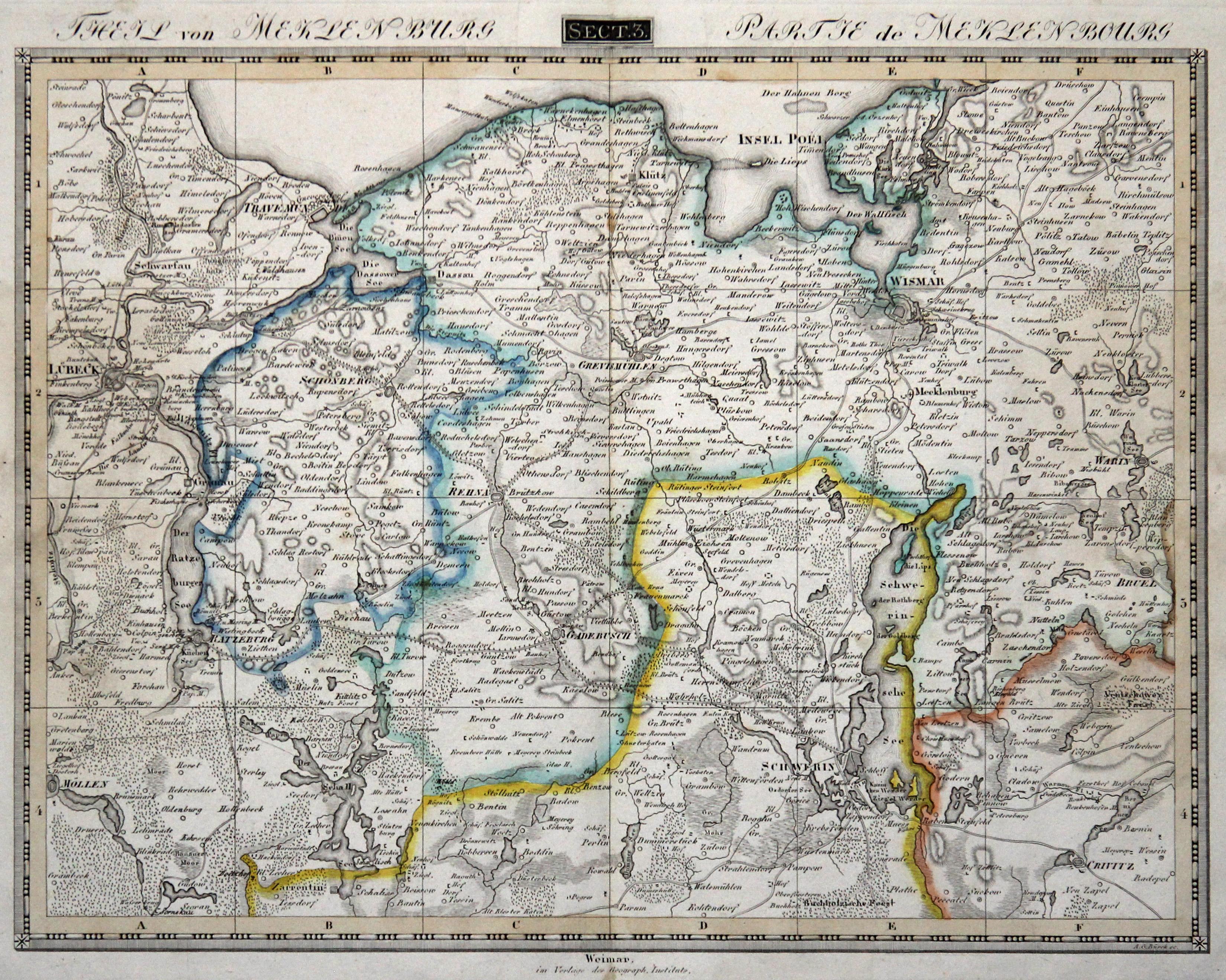 Karte Weimar Und Umgebung.Kupferstich Karte V Burck B