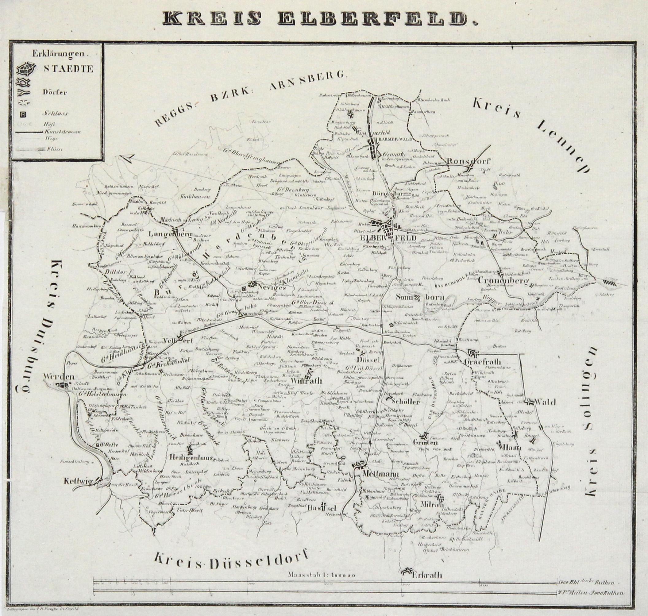 Krefeld Karte.Litho Karte V I H Funcke In Krefeld